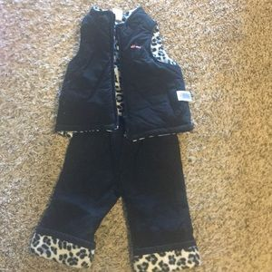 6-12 mo leopard print insulated pants & vest.